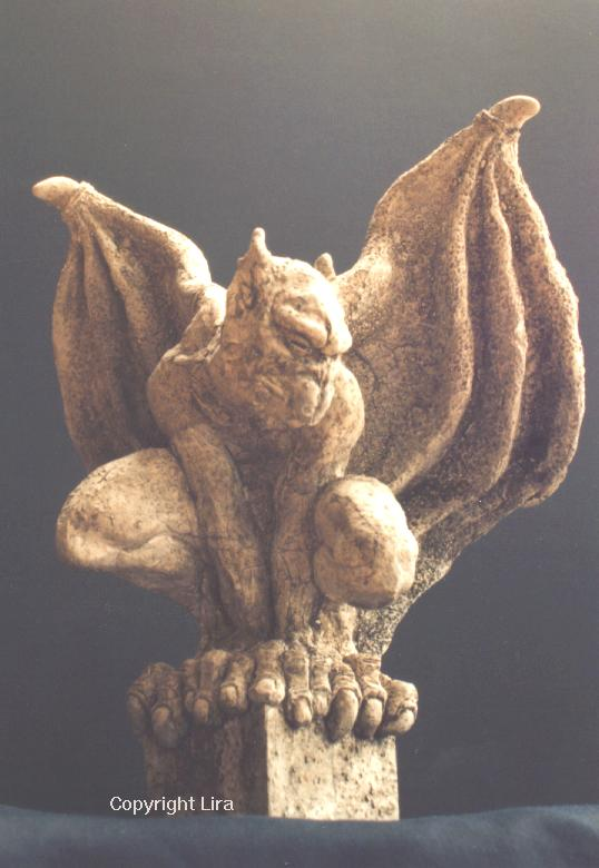 Winged gargoyle sculpture.